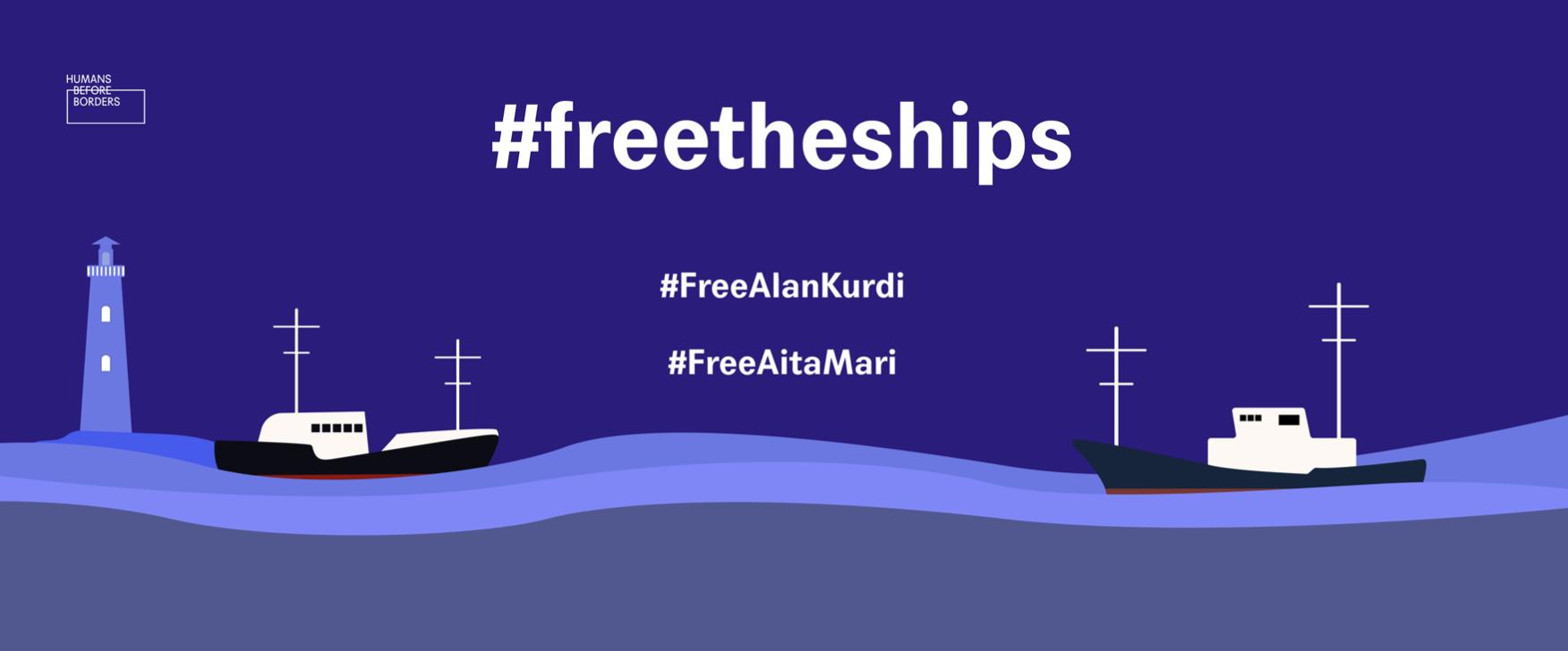 Humans Before Borders organiza protesto para libertação de navios de resgate no mar Mediterrâneo